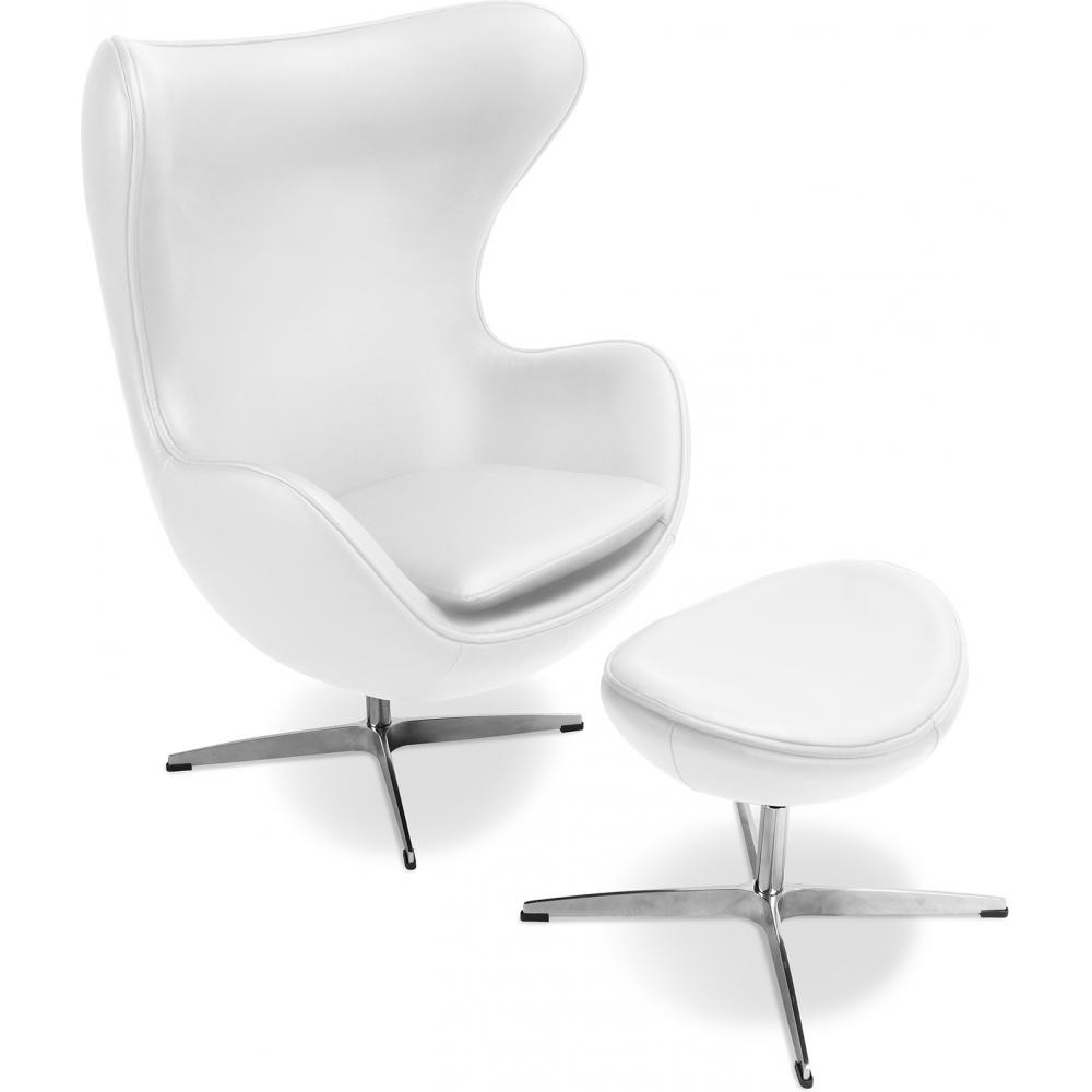 fauteuil avec repose pieds simili blanc ego. Black Bedroom Furniture Sets. Home Design Ideas