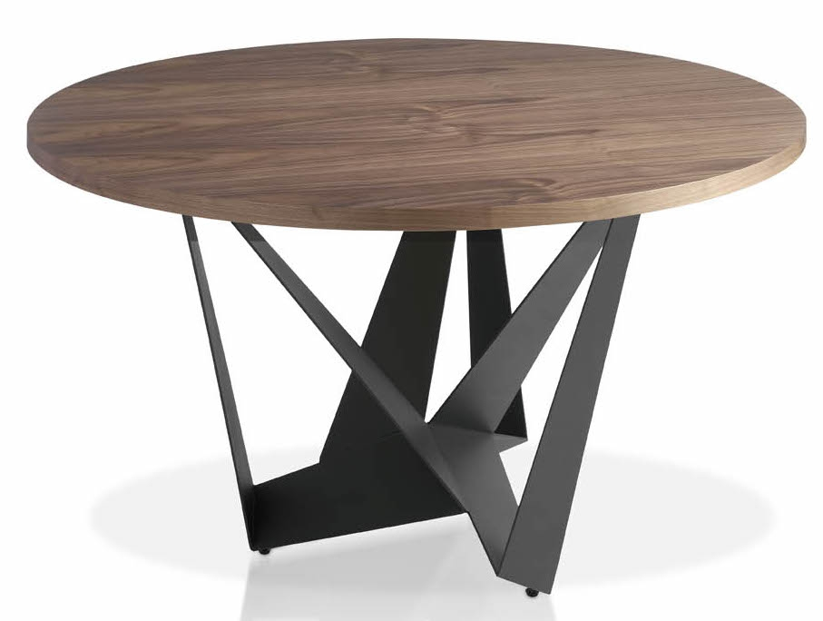 Table ronde acier anthracite plateau en bois noyer arka for Table de sejour ronde