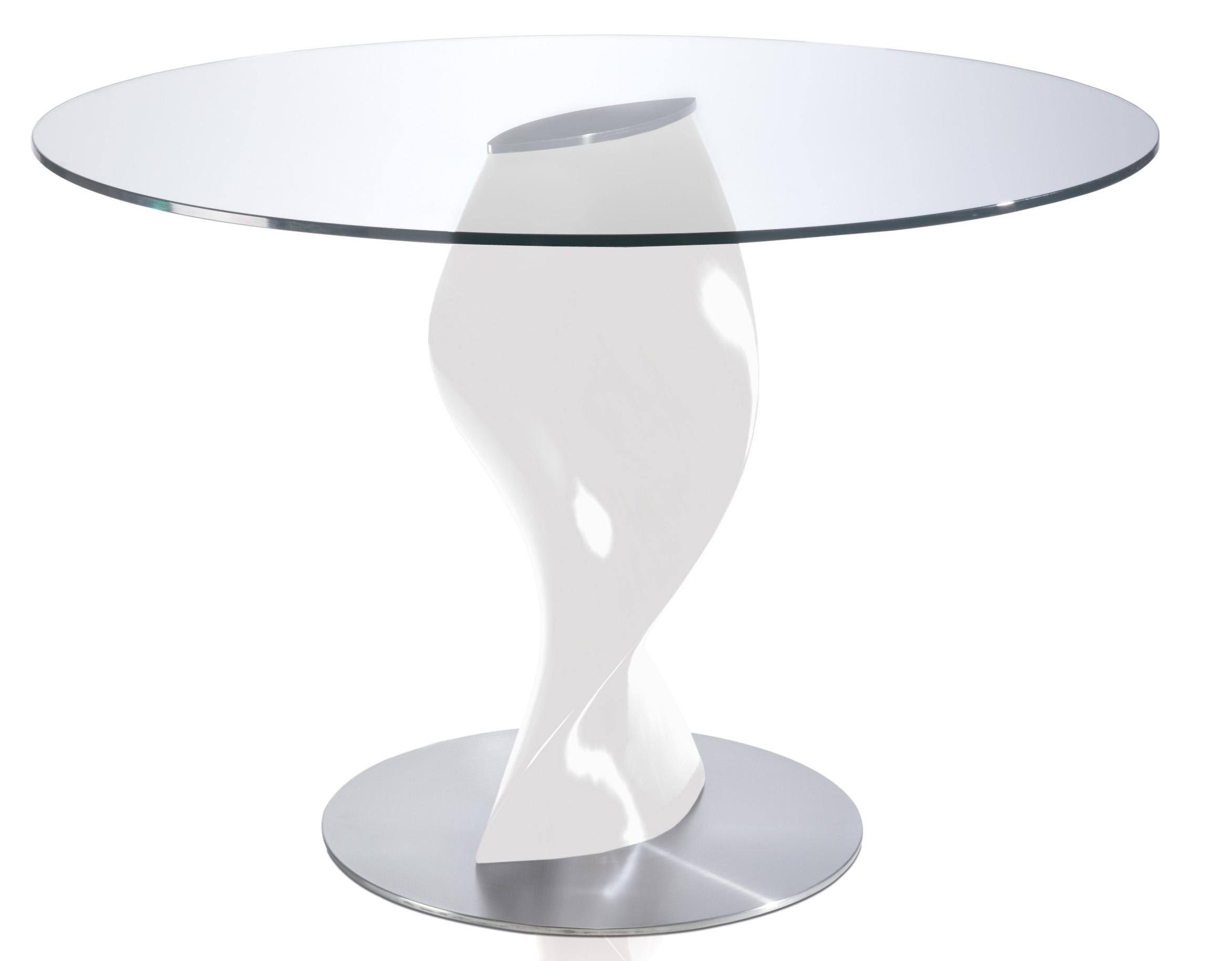 table ronde laqu e taupe en fibre de verre plateau en verre torsada dimensions d 110 x h 76 cm. Black Bedroom Furniture Sets. Home Design Ideas