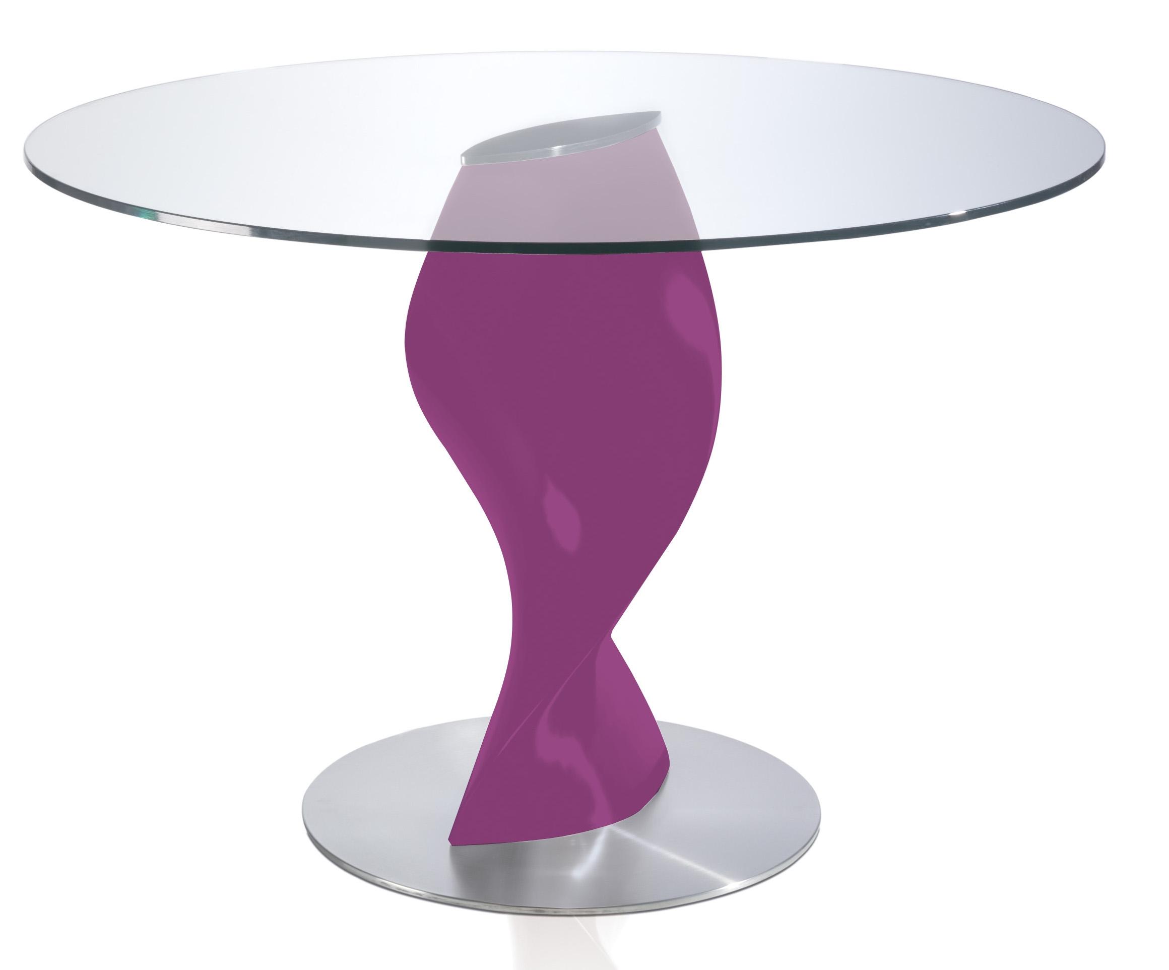 Table ronde laqu e fuchsia en fibre de verre plateau en for Plateau table ronde 110 cm