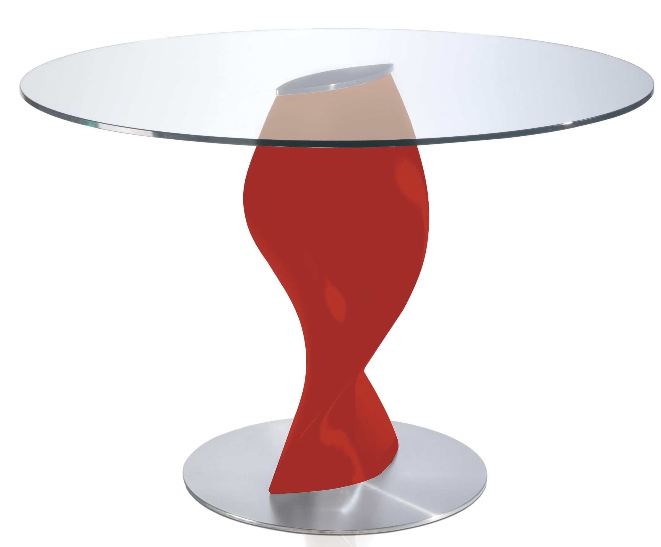 table ronde laqu e rouge en fibre de verre torsada dimensions d 110 x h 76 cm. Black Bedroom Furniture Sets. Home Design Ideas