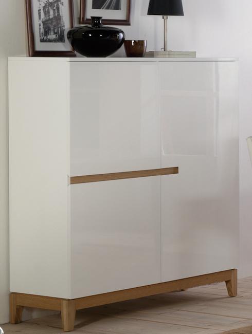 bahut 3 portes blanc laqu et ch ne cita. Black Bedroom Furniture Sets. Home Design Ideas