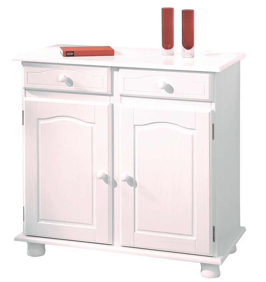 bahut 2 portes 2 tiroirs en pin massif blanc brito. Black Bedroom Furniture Sets. Home Design Ideas