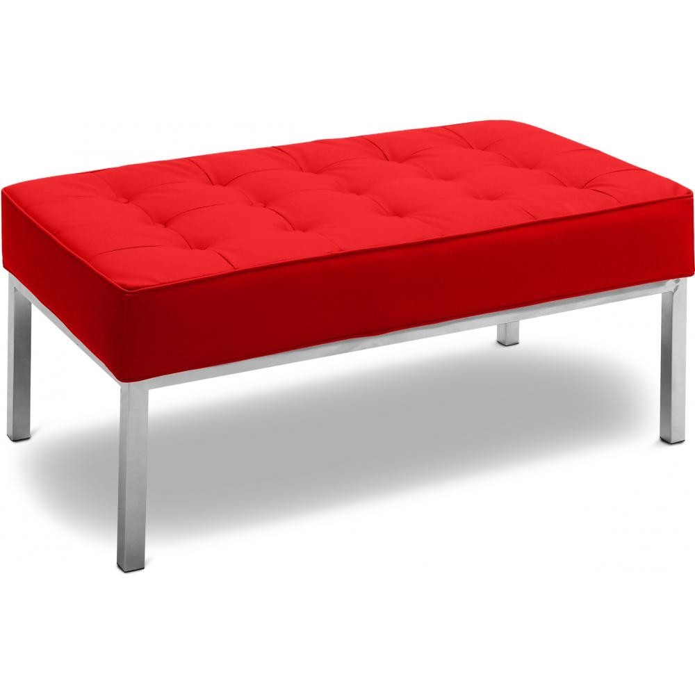 banc 2 places capitonn simili rouge inspir florence knoll. Black Bedroom Furniture Sets. Home Design Ideas