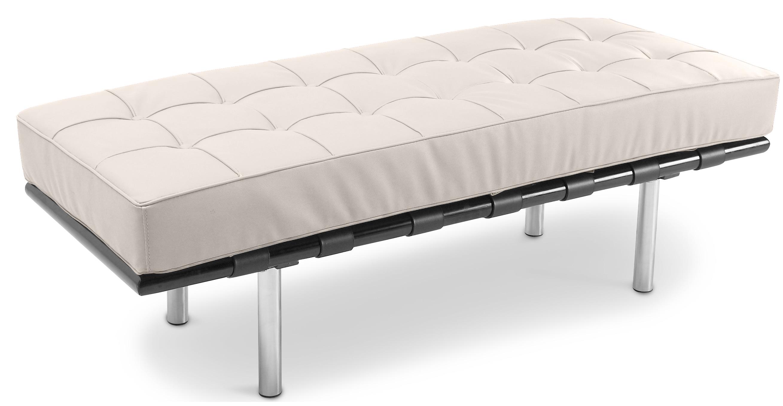 banc 2 places cuir cr me inspir ludwig mies van der rohe. Black Bedroom Furniture Sets. Home Design Ideas