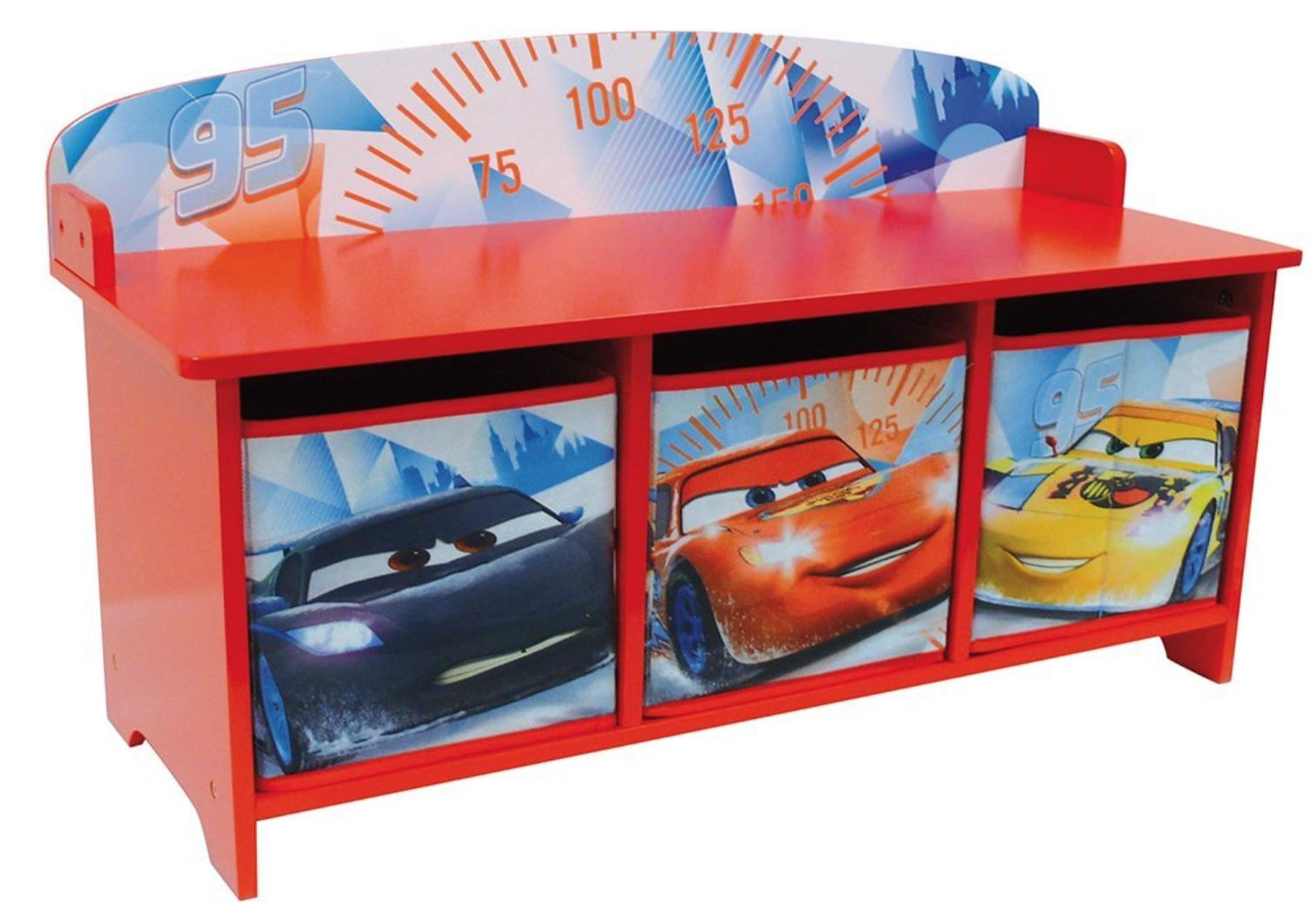 banc avec bacs de rangement ice racing cars disney. Black Bedroom Furniture Sets. Home Design Ideas
