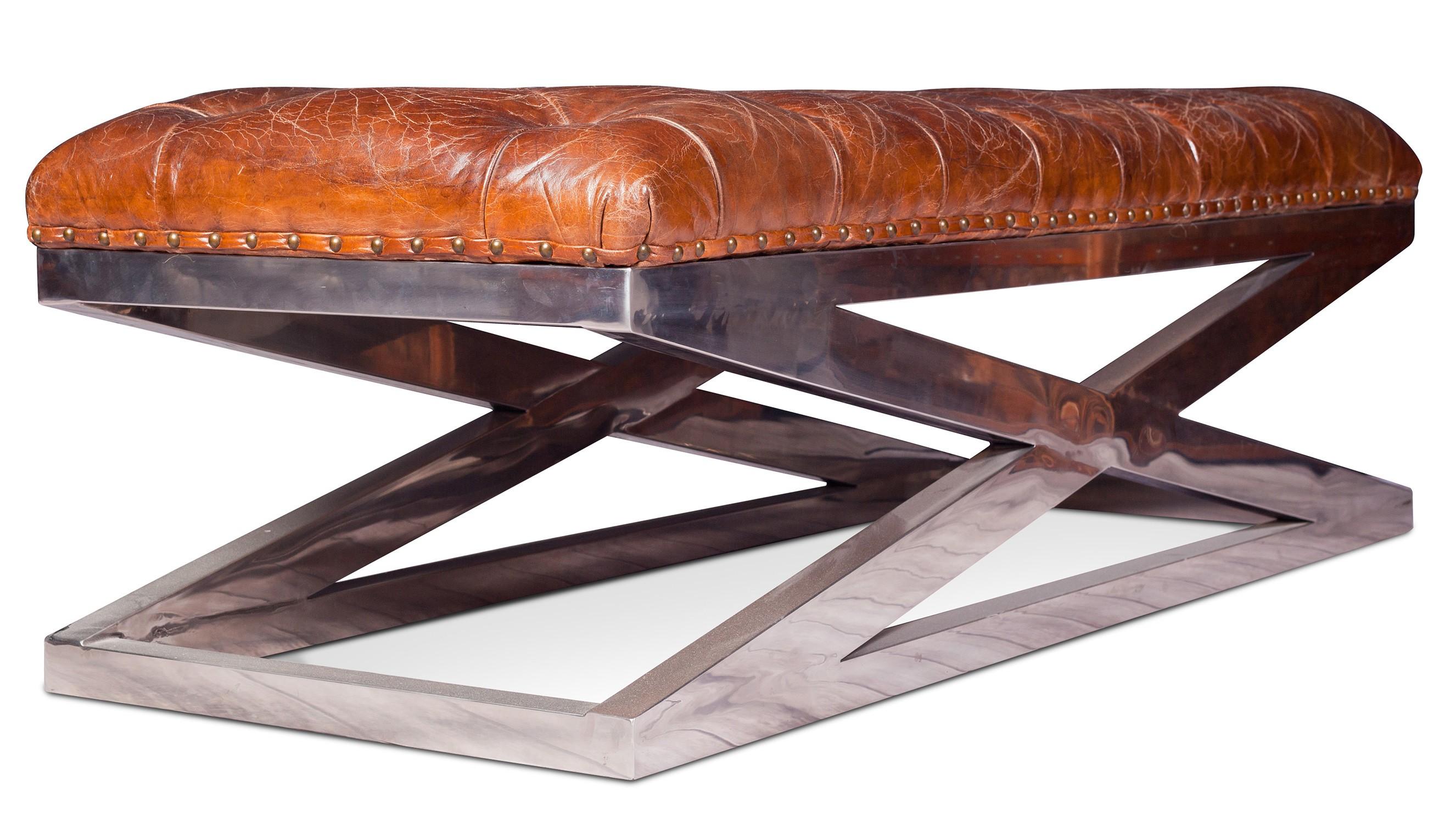 banc capitonn cuir marron vintage lower. Black Bedroom Furniture Sets. Home Design Ideas