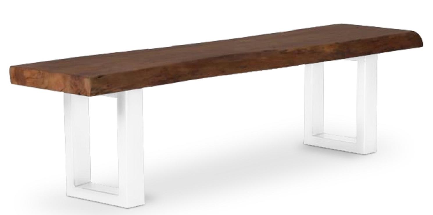 banc m tal blanc et assise bois tasty. Black Bedroom Furniture Sets. Home Design Ideas