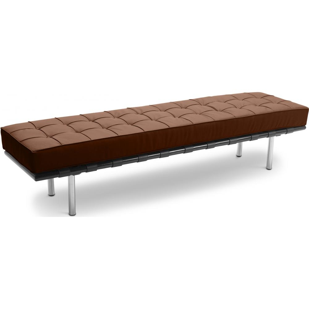 Banc simili cuir marron 3 places barca for Canape simili cuir marron
