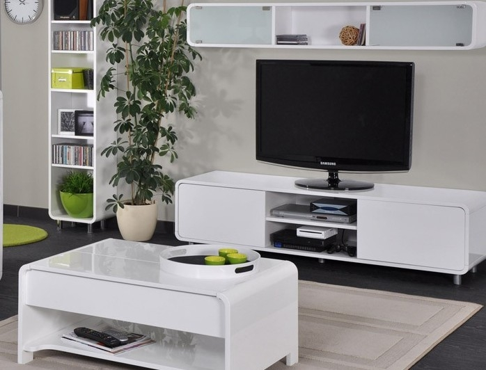 banc tv laqu blanc san francisco. Black Bedroom Furniture Sets. Home Design Ideas