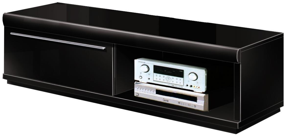 Banc Tv Bois Noir : Description banc tv laqu? noir large en bois mdf ...