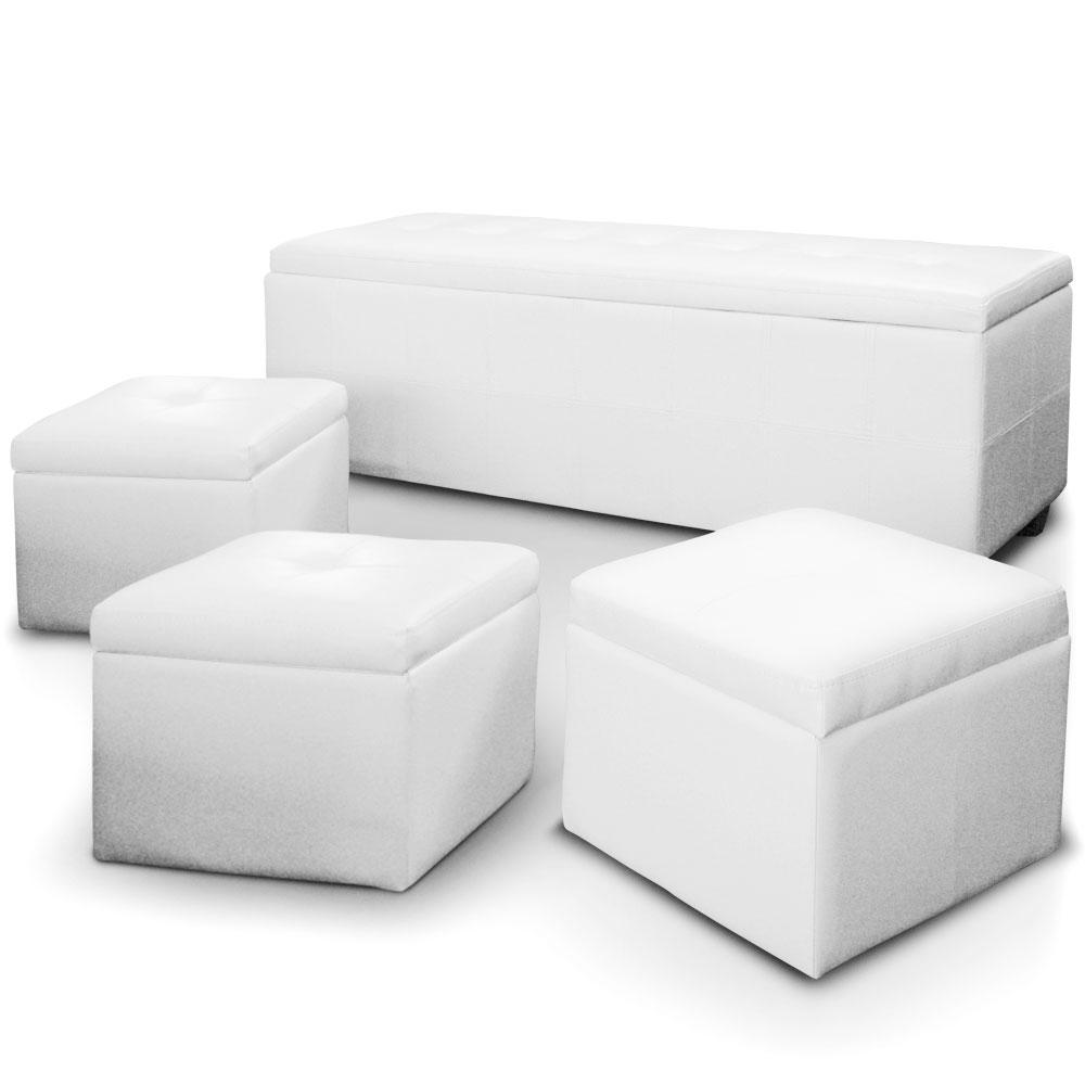 banquette blanche avec 3 poufs kenzo. Black Bedroom Furniture Sets. Home Design Ideas
