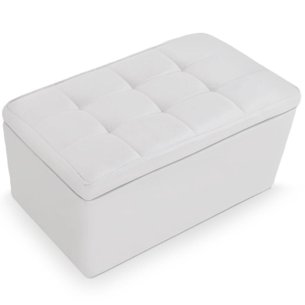 banquette coffre capitonn e blanc kila. Black Bedroom Furniture Sets. Home Design Ideas