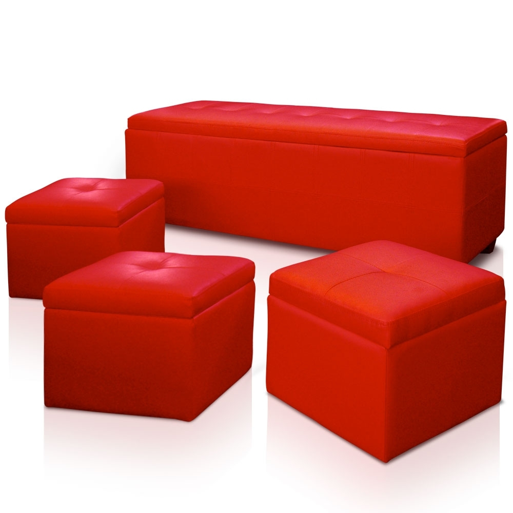 banquette rouge avec 3 poufs kenzo. Black Bedroom Furniture Sets. Home Design Ideas