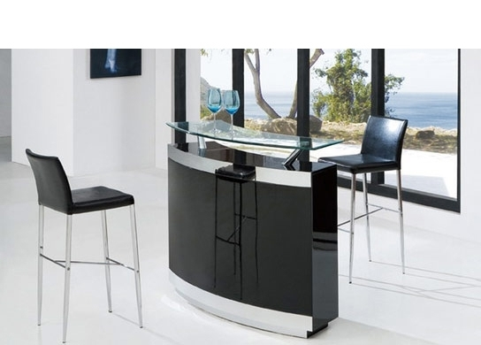 bar de salon moderne noir et 2 tabourets. Black Bedroom Furniture Sets. Home Design Ideas