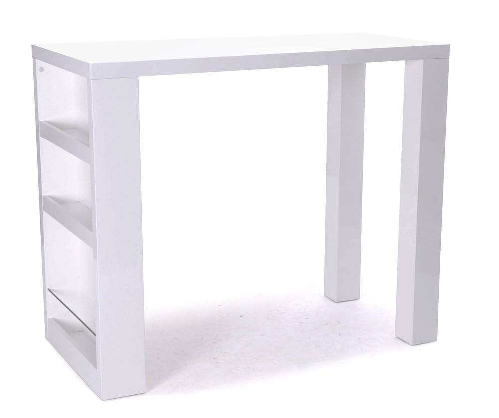Table de bar laque blanc for Meuble bar laque blanc