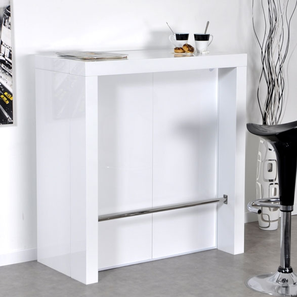 Bar laqu blanc algo console extensible for Meuble bar laque blanc
