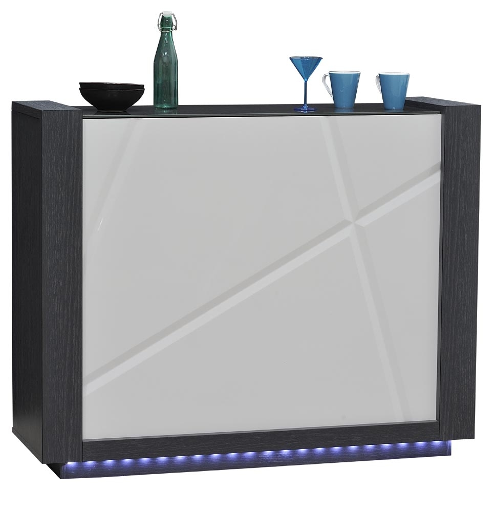 Bar laqu blanc et gris led quartz for Meuble bar laque blanc