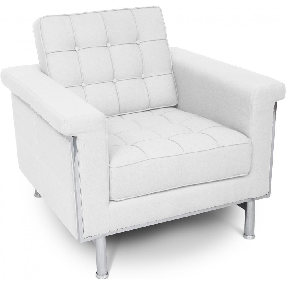 fauteuil matelass tissu blanc madrid. Black Bedroom Furniture Sets. Home Design Ideas