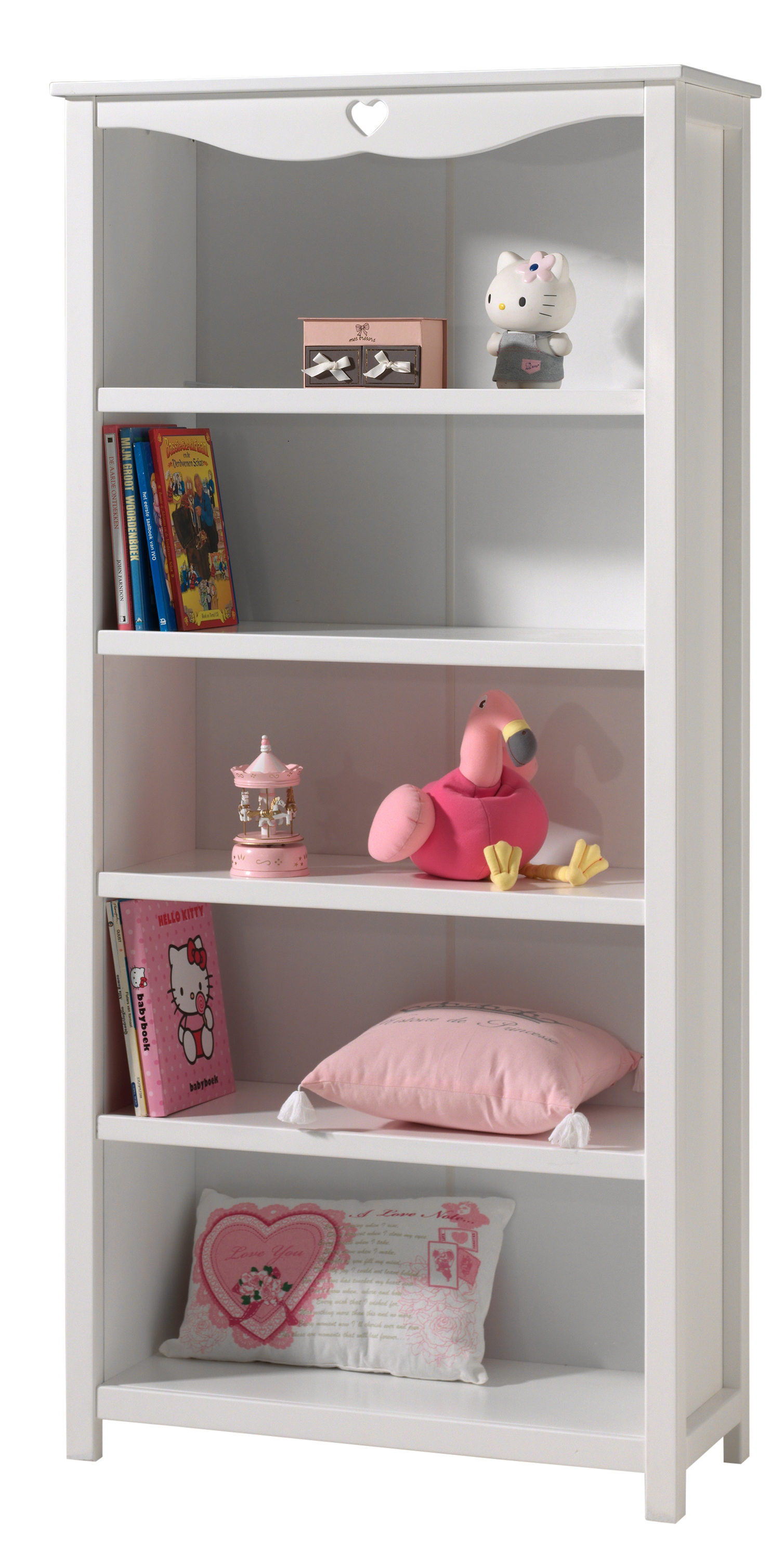 biblioth que laqu blanc coeur. Black Bedroom Furniture Sets. Home Design Ideas