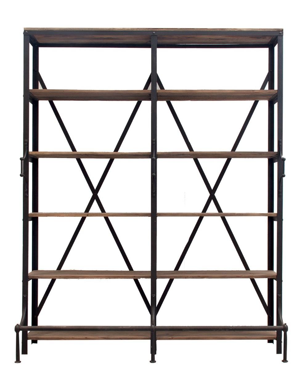 biblioth que pin massif et m tal noir kunsty. Black Bedroom Furniture Sets. Home Design Ideas