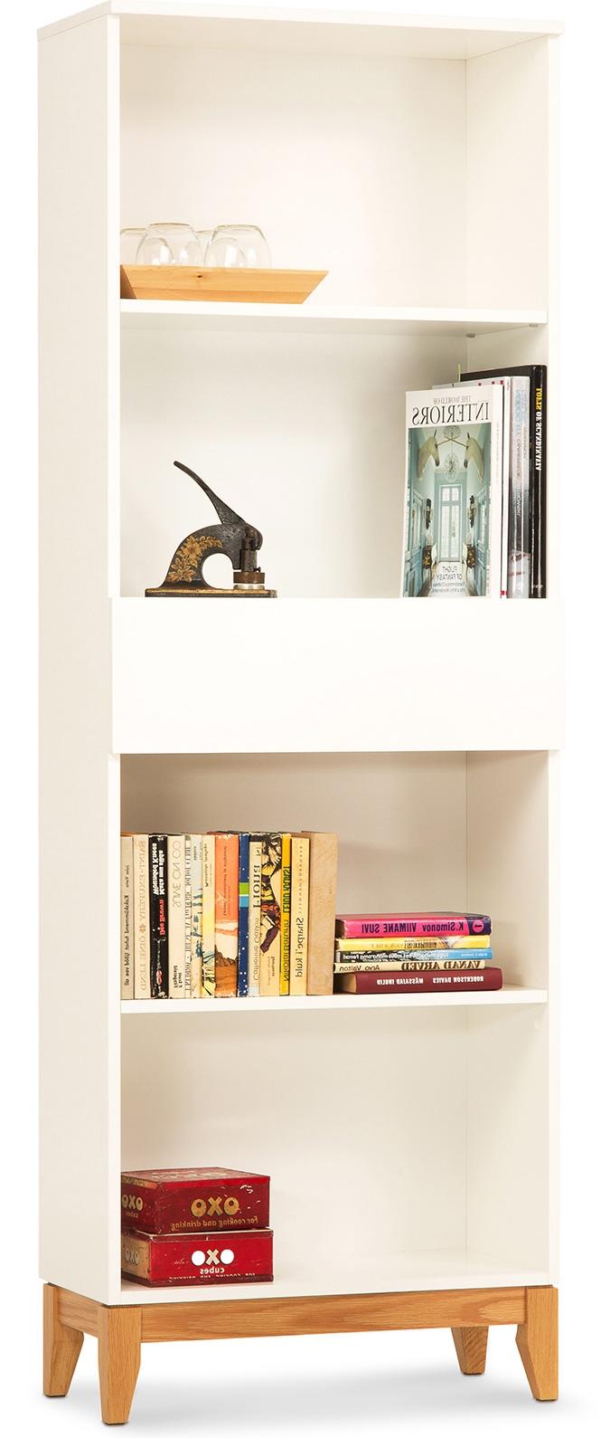 biblioth que scandinave blanche et bois naturel benji. Black Bedroom Furniture Sets. Home Design Ideas