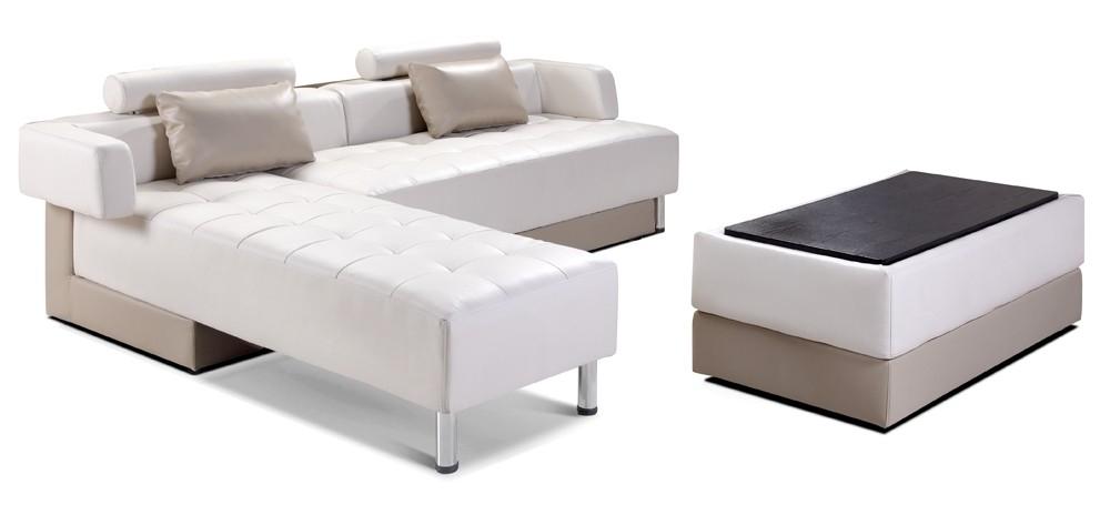 canapé d'angle réversible simili taupe et blanc olba - lestendances.fr