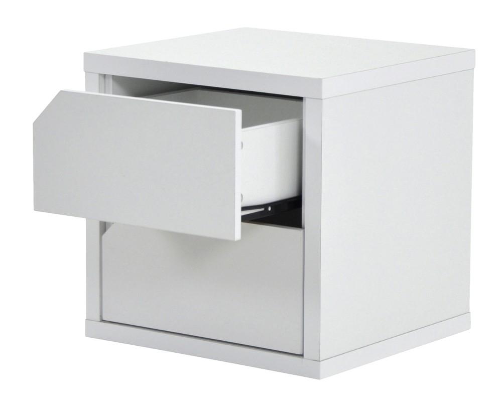 bloc 2 tiroirs blanc popsie. Black Bedroom Furniture Sets. Home Design Ideas
