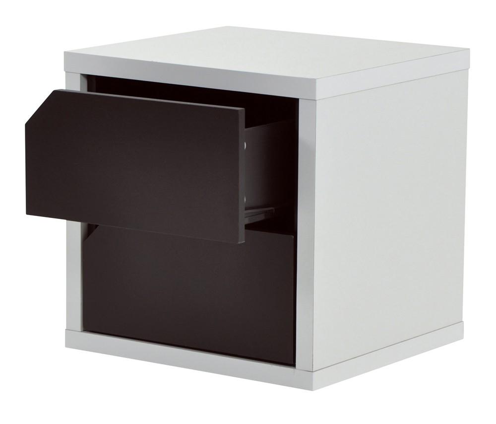 bloc 2 tiroirs weng et blanc popsie. Black Bedroom Furniture Sets. Home Design Ideas