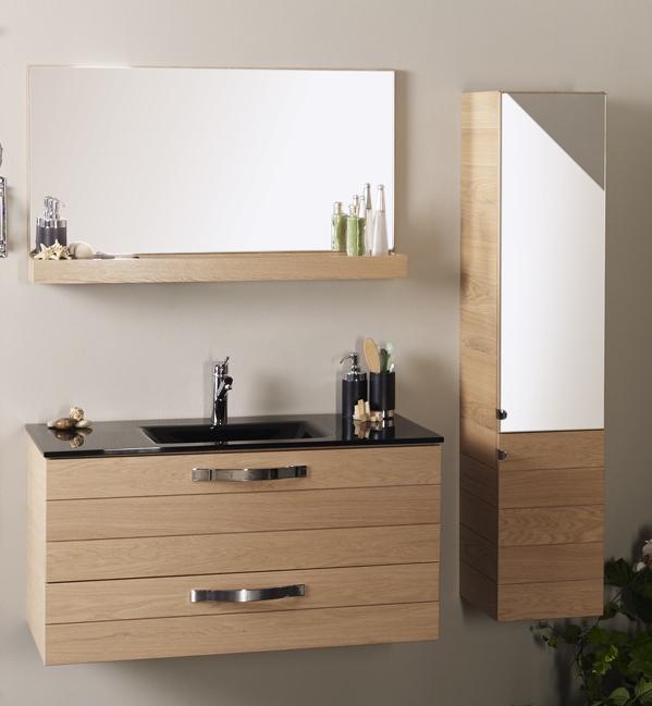 Bloc salle de bain bois naturel oska for Meuble salle de bain bois naturel