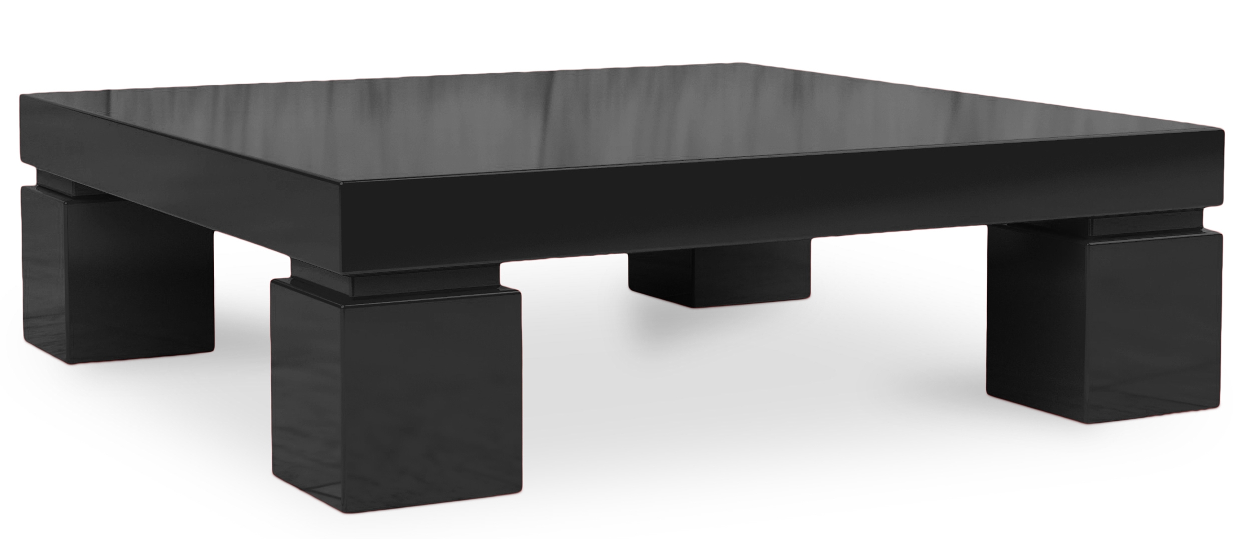 Table basse carr e laqu e noir kare - Table basse carree noire ...