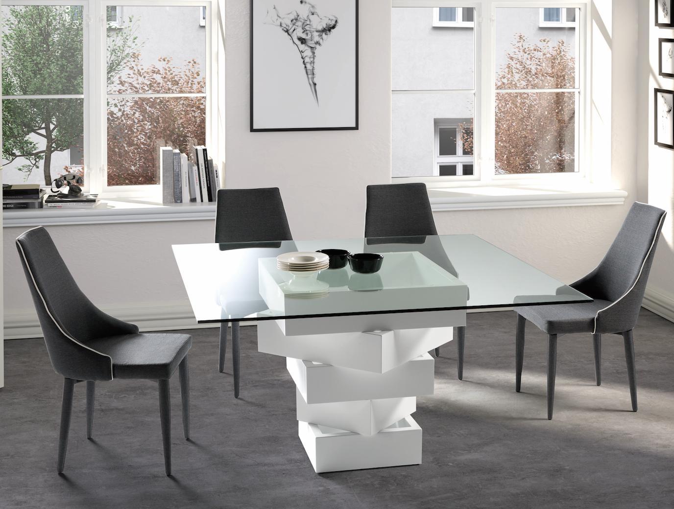 table manger carr e bois laqu blanc et verre kaz. Black Bedroom Furniture Sets. Home Design Ideas