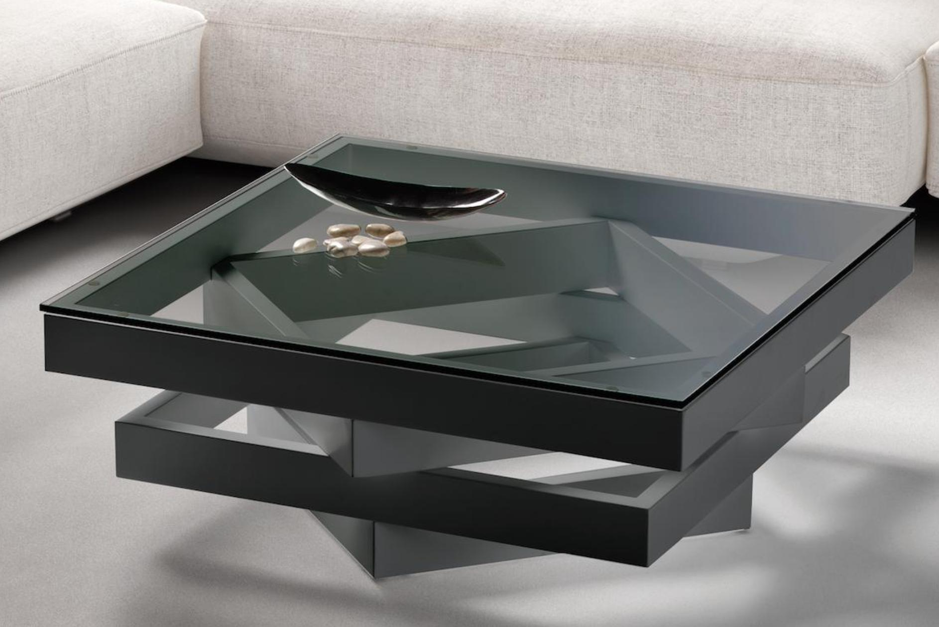 table basse carr e bois laqu multicouleurs gris et verre. Black Bedroom Furniture Sets. Home Design Ideas
