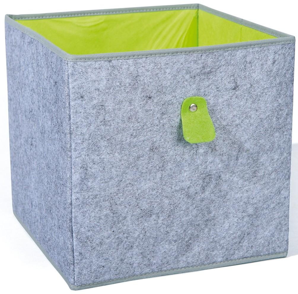 Boîte de rangement tissu gris et vert Widdo | LesTendances.fr