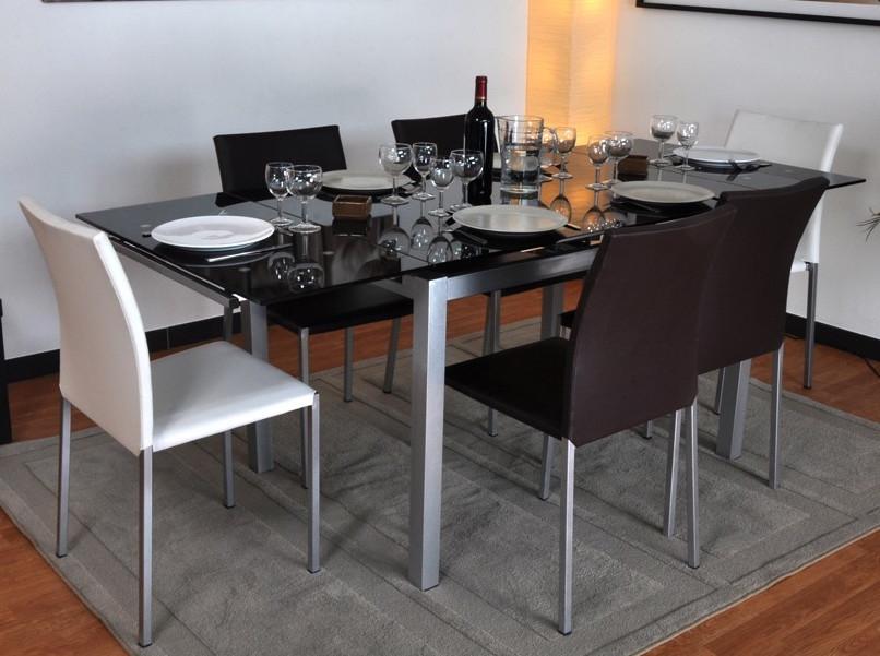 Table noire extensible verre fum dona - Table extensible noire ...