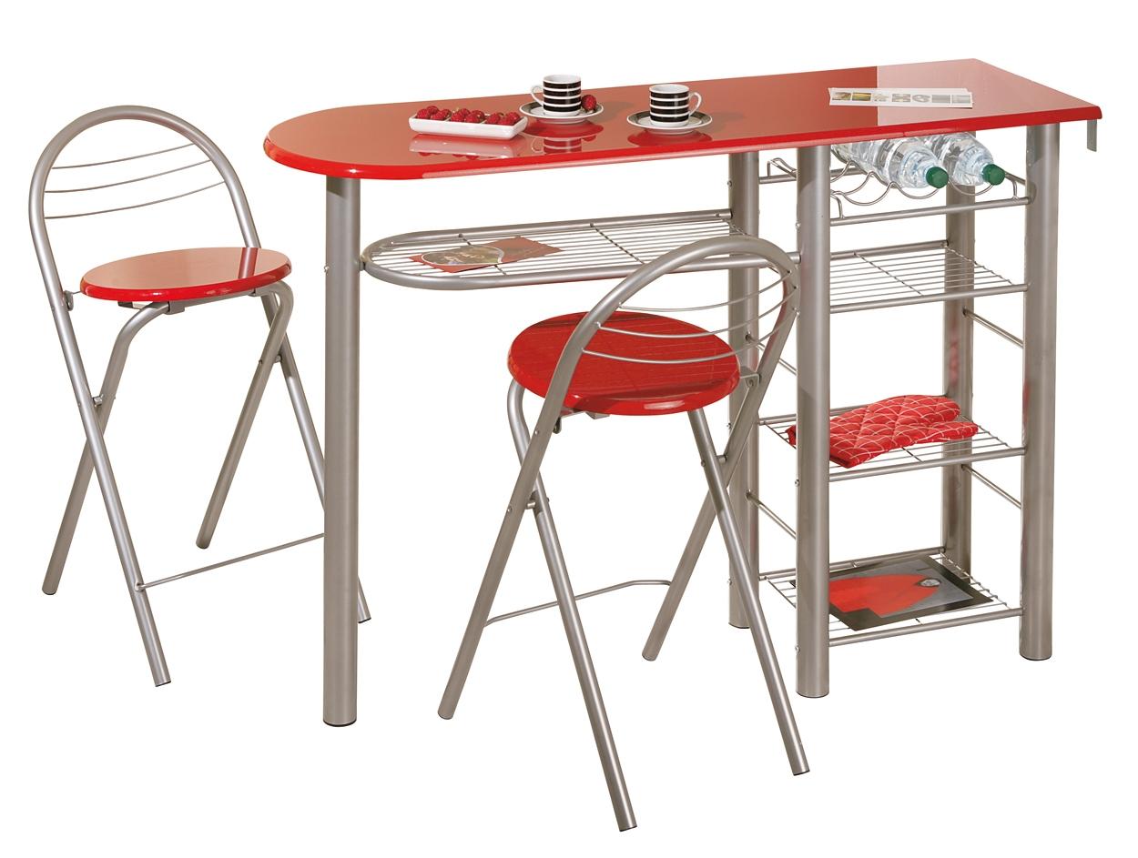Cuisine Design Reims : Table rouge laquée de cuisine et 2 tabourets Brigitte  LesTendances