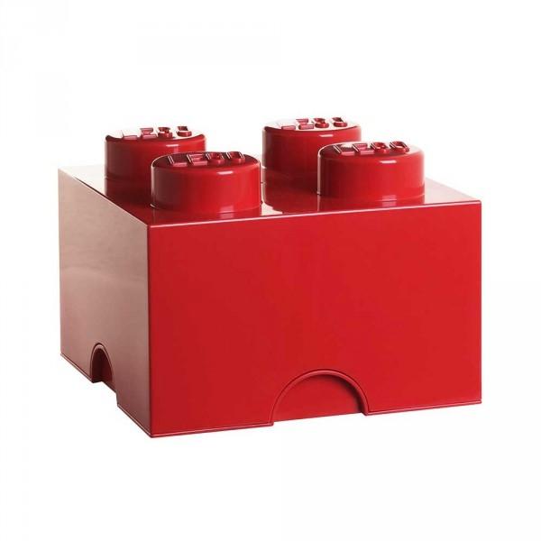 Brique de rangement 4 plots rouge lego - Brique rangement lego ...