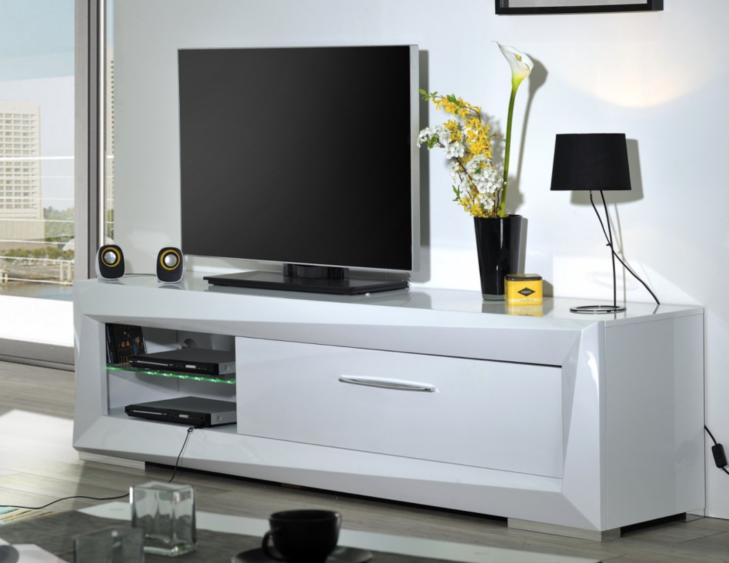meuble tv 1 tiroir blanc laqu must mod le sans led. Black Bedroom Furniture Sets. Home Design Ideas