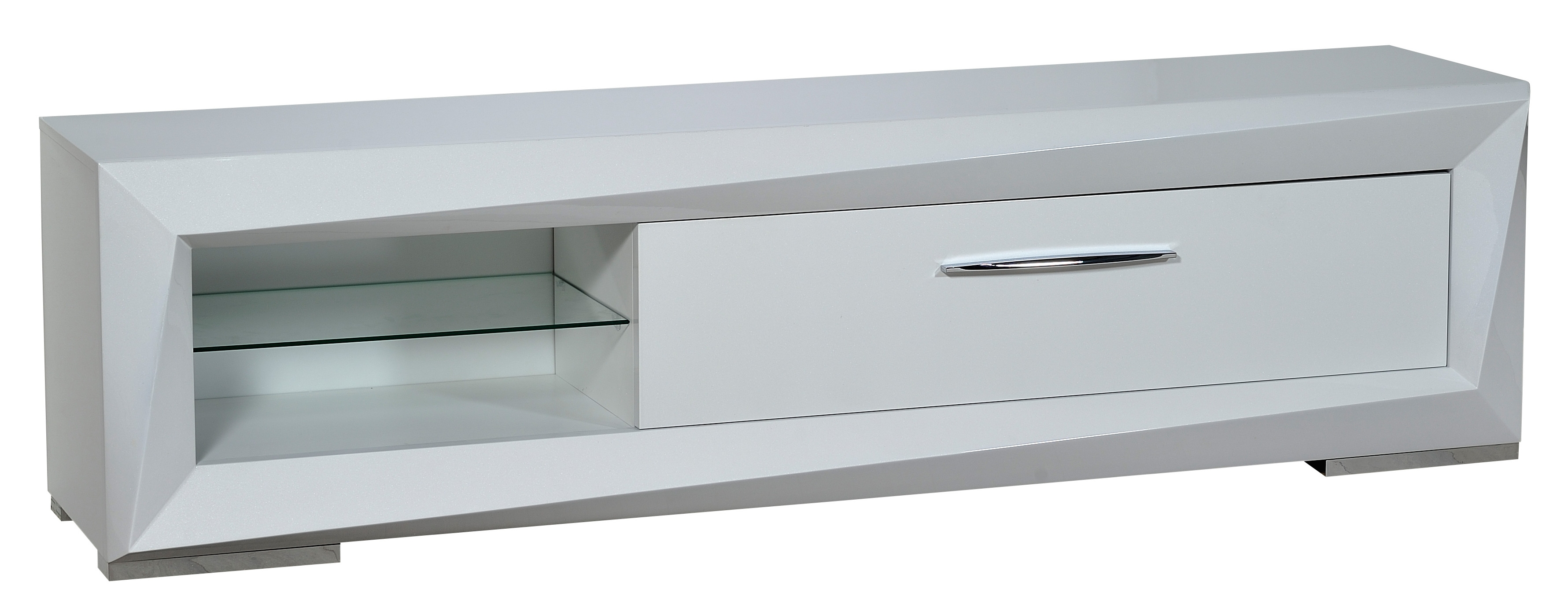 meuble tv 1 tiroir blanc laqu must. Black Bedroom Furniture Sets. Home Design Ideas
