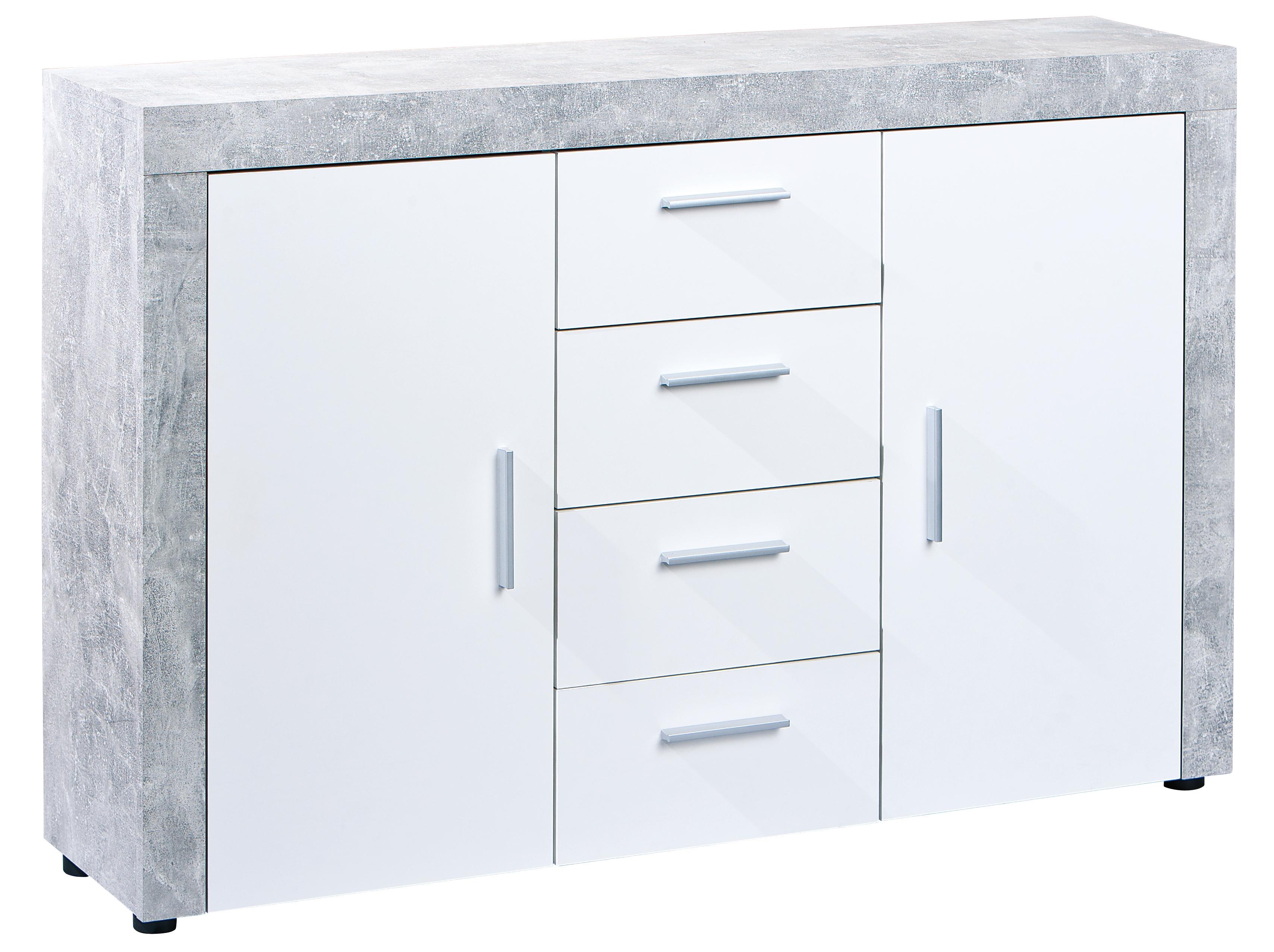 Buffet 2 portes 4 tiroirs aspect béton et blanc Bonnie ...