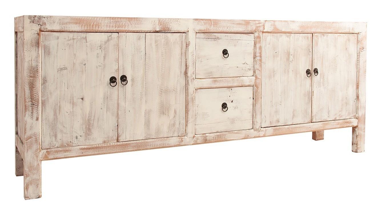 a50fd0ca337 Buffet style vintage 4 portes 2 tiroirs pin massif recyclé clair et blanc  décapé Atticus