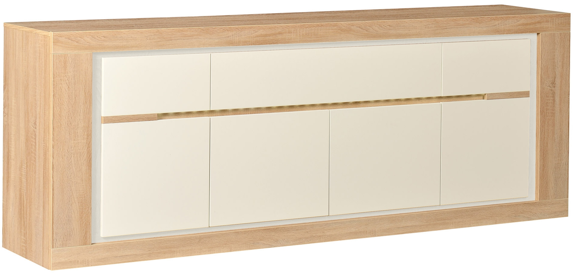 Buffet 4 portes ch ne et laque blanc clairage leds season for Buffet chene clair