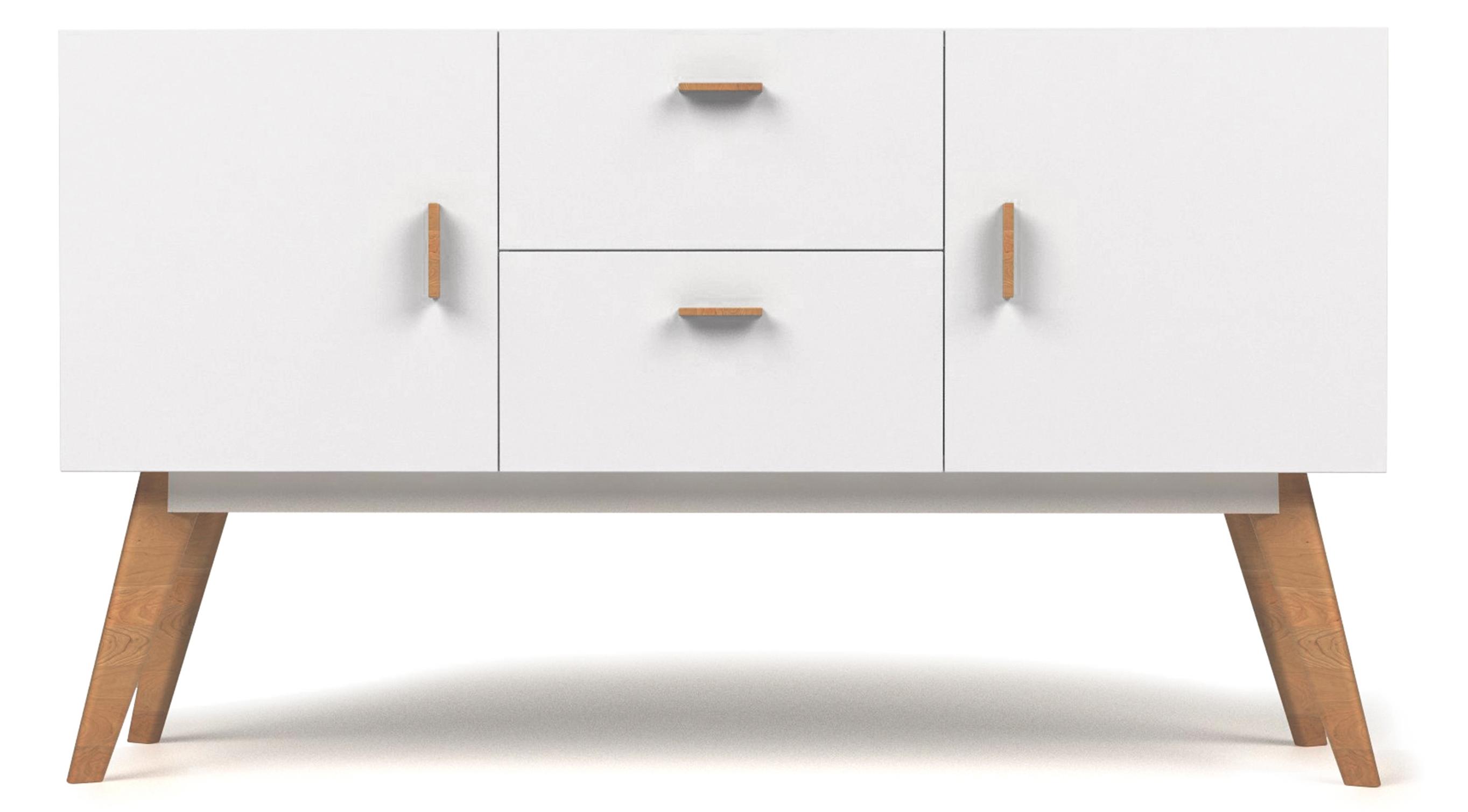 Buffet bois blanc 2 portes 2 tiroirs scandinave for Meuble deux portes bois