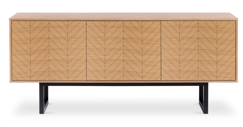buffet bois naturel et m tal noir kiria. Black Bedroom Furniture Sets. Home Design Ideas