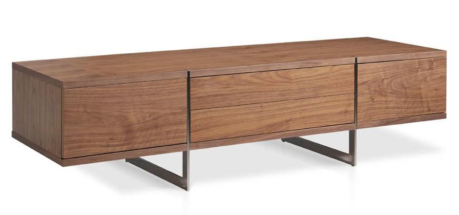 meuble bois plaqu noyer et acier inoxydable poli monka. Black Bedroom Furniture Sets. Home Design Ideas