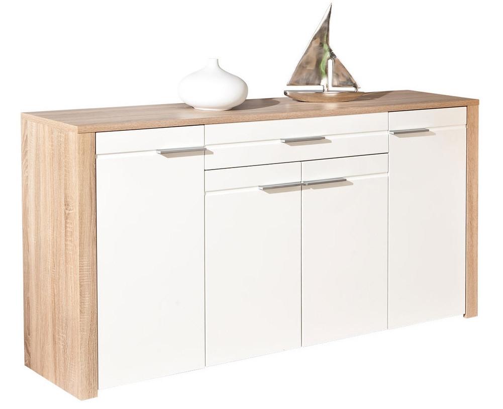 buffet commode 4 portes 1 tiroir ch ne sonoma et blanc babou. Black Bedroom Furniture Sets. Home Design Ideas