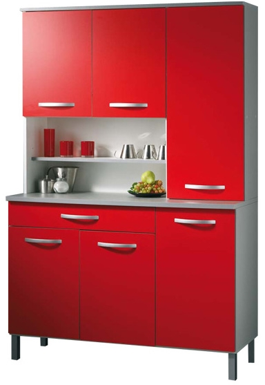 buffet de cuisine 6 portes 1 grand tiroir rouge viva. Black Bedroom Furniture Sets. Home Design Ideas