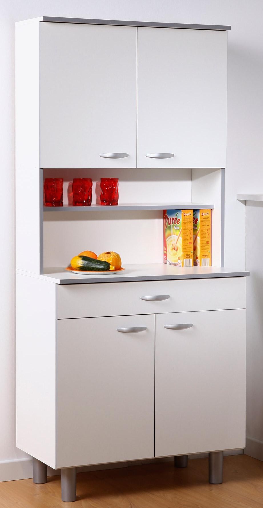 buffet de cuisine bois blanc et gris leady. Black Bedroom Furniture Sets. Home Design Ideas