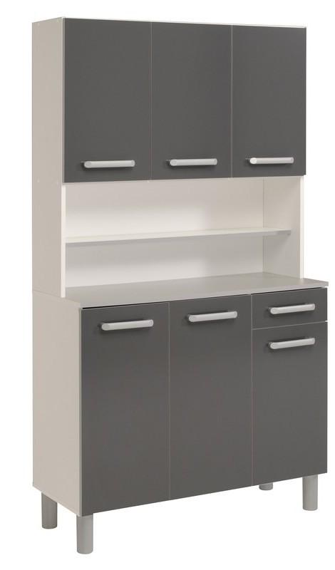 buffet de cuisine 6 portes 1 tiroir gris gloria. Black Bedroom Furniture Sets. Home Design Ideas