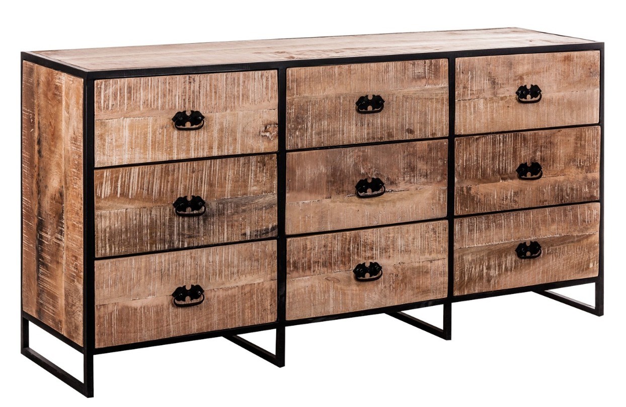 buffet 9 tiroirs style industriel manguier naturel monky. Black Bedroom Furniture Sets. Home Design Ideas